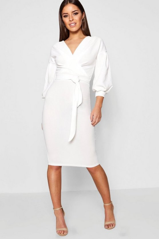 Womens White Petite Off The Shoulder Wrap Midi Dress