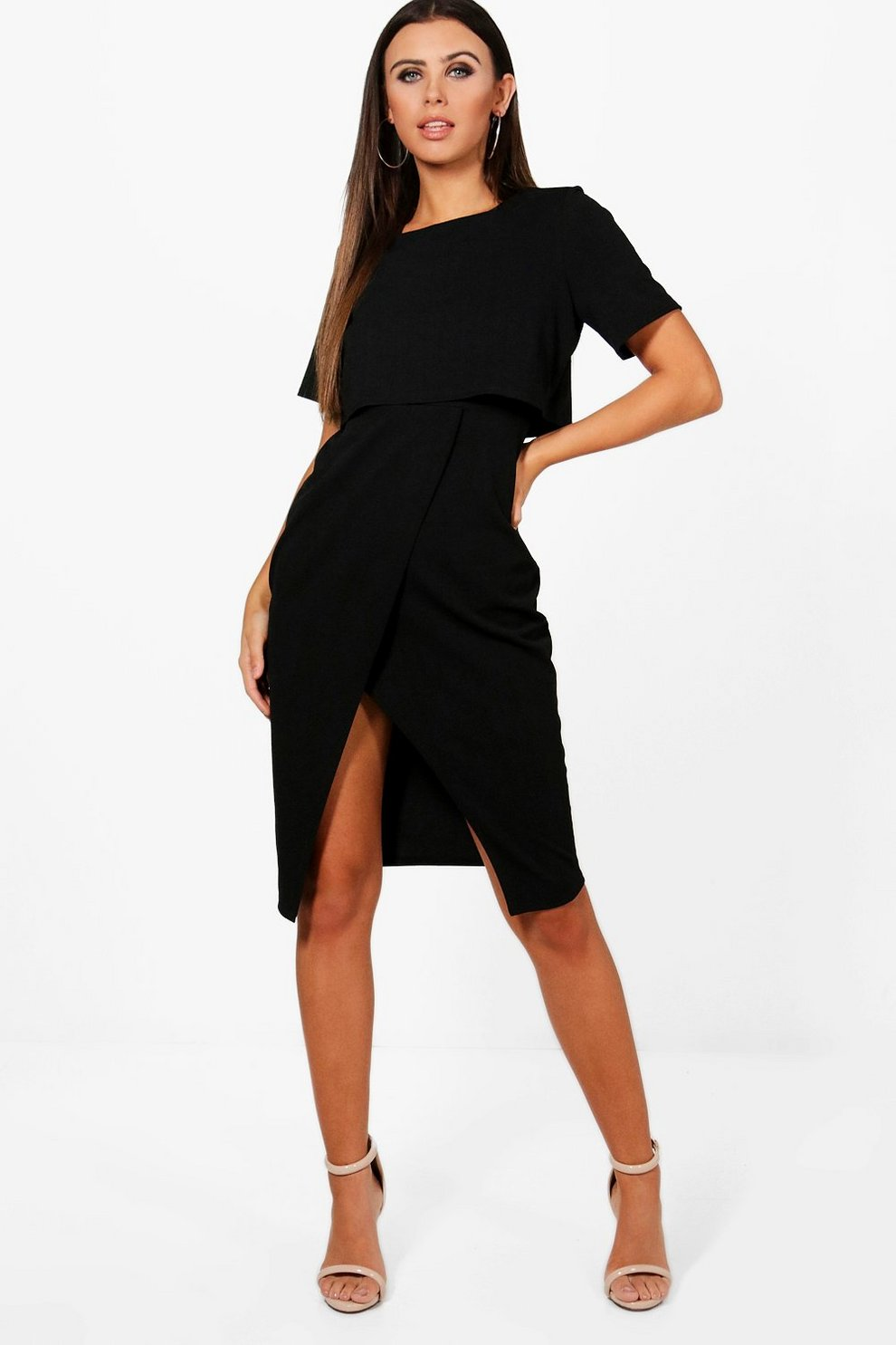 5b85908d489 Petite Split Sleeve Detail Wiggle Midi Dress | Boohoo