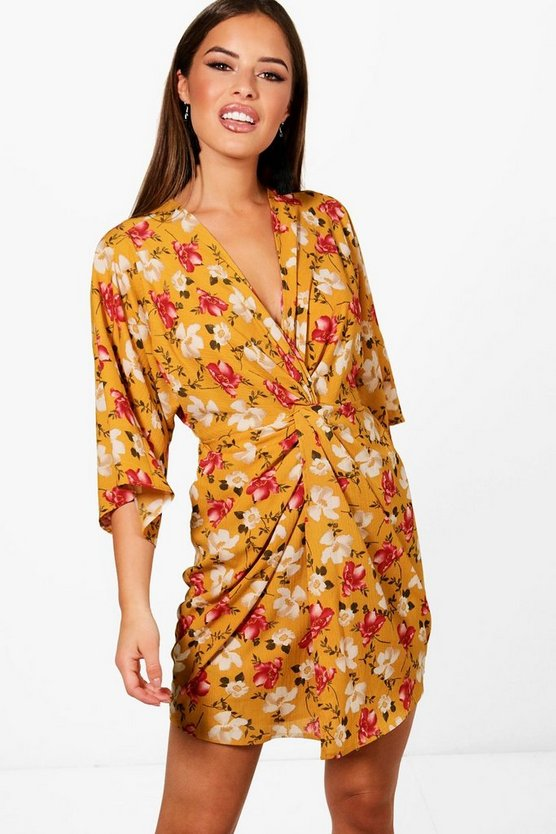 Petite Floral Knot Front Woven Dress