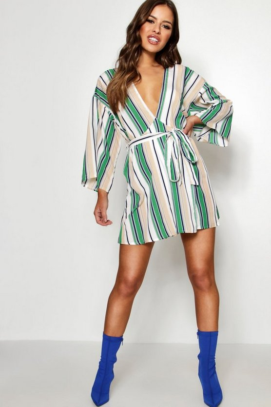 Petite Kimono Sleeve Stripe Swing Dress