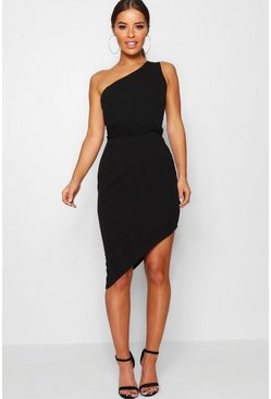 Womens Black Petite  One Shoulder Asymmetric Bodycon Dress