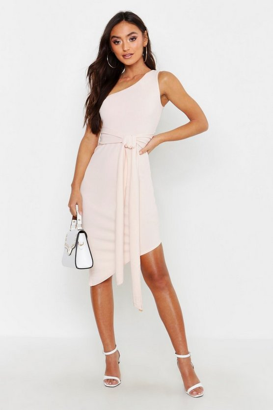 Womens Blush Petite  One Shoulder Asymmetric Bodycon Dress