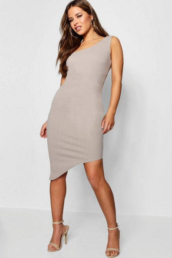 Petite  One Shoulder Asymmetric Bodycon Dress