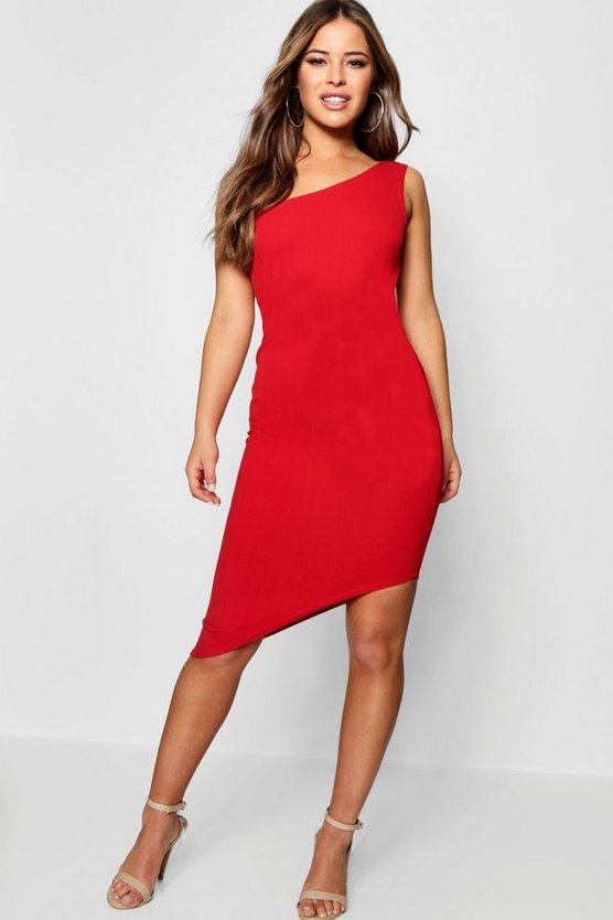 Womens Red Petite  One Shoulder Asymmetric Bodycon Dress