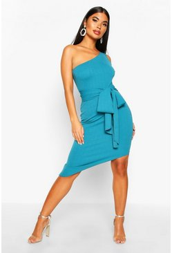 Womens Teal Petite  One Shoulder Asymmetric Bodycon Dress