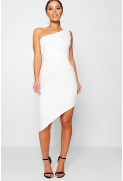 Womens White Petite  One Shoulder Asymmetric Bodycon Dress