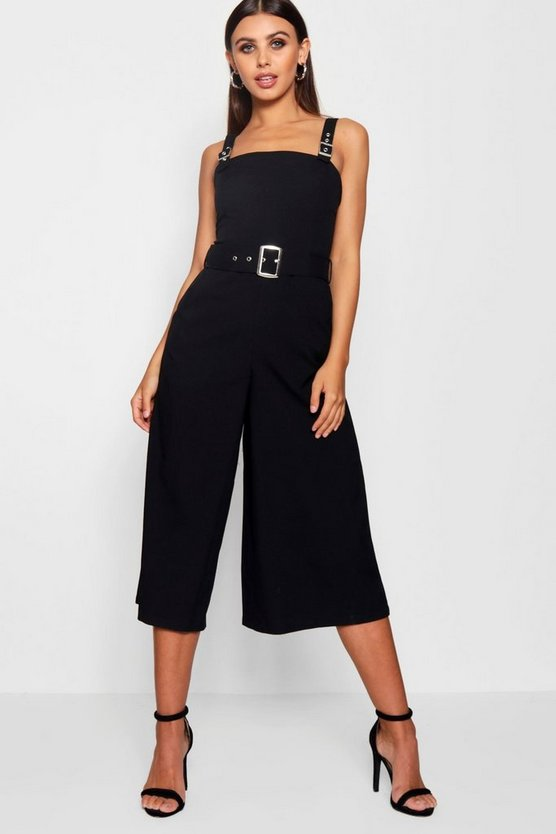 Womens Black Petite Belted Square Neck Woven Jumpsuit