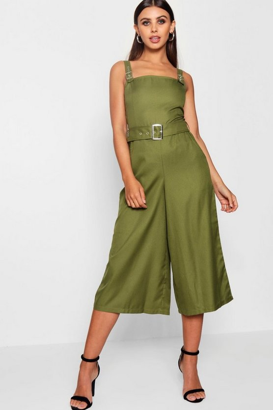 Womens Khaki Petite Belted Square Neck Woven Jumpsuit
