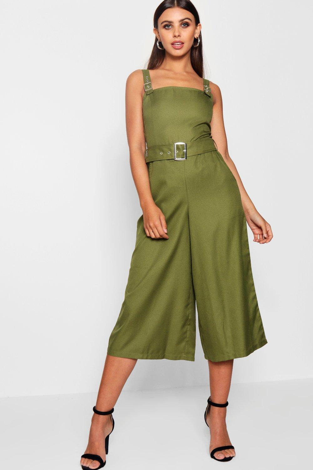 f94aa783dfd Petite Belted Square Neck Woven Jumpsuit. Hover to zoom