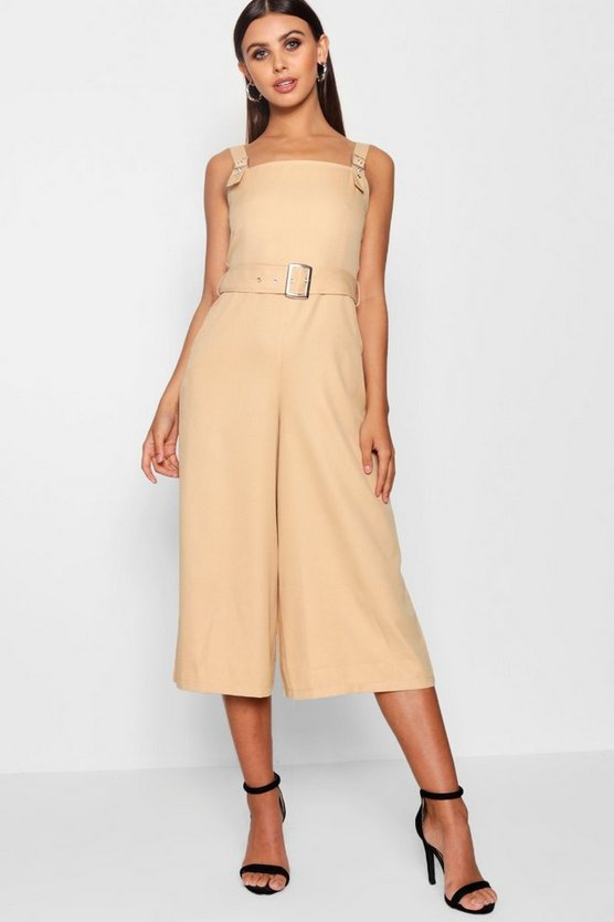 Petite Belted Square Neck Woven Jumpsuit