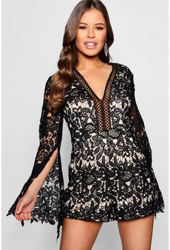 Womens Petite Mandy Button Front Crochet Lace Playsuit