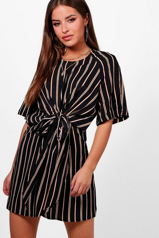Womens Black Petite  Knot Front Stripe Wrap Dress