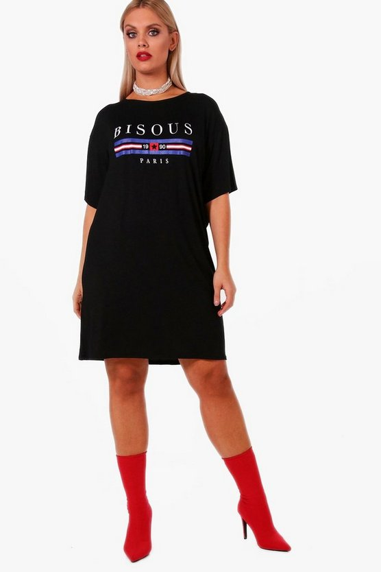 Plus 'Bisous' Printed T-Shirt Dress