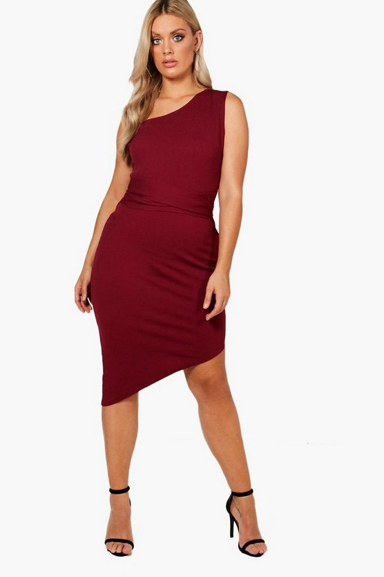 Plus One Shoulder Asymmetric Bodycon Dress