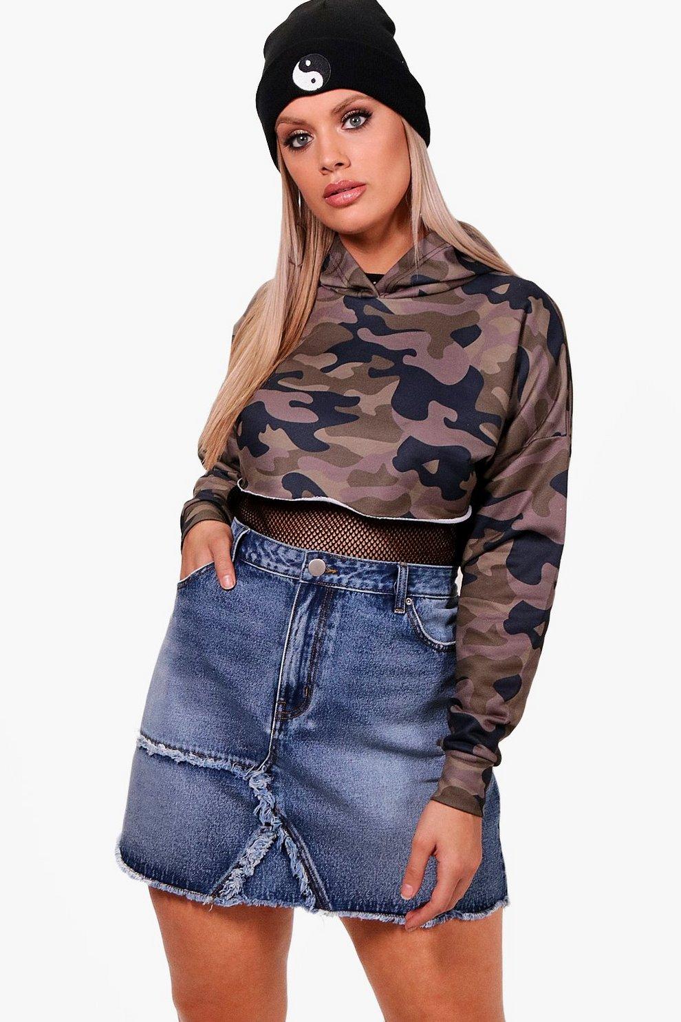513c2a6427cbb Plus Fray Detail Denim Skirt | Boohoo