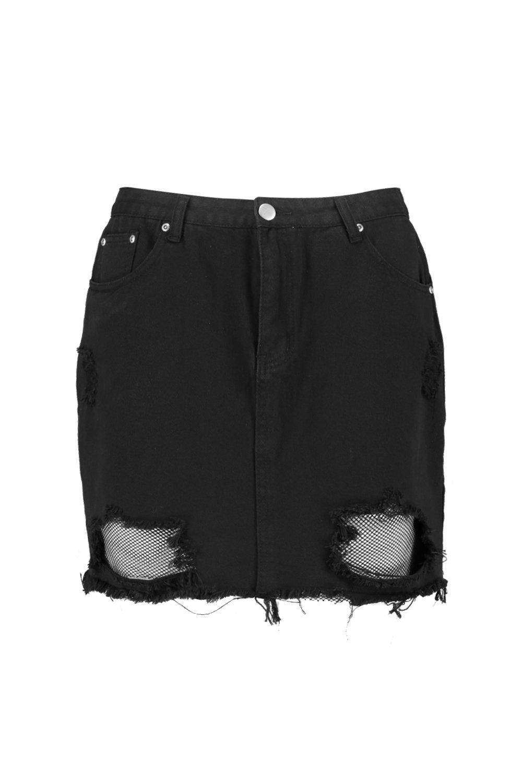 Denim detalle Red Plus minifalda bajo deshilachado negro w0wCqHU