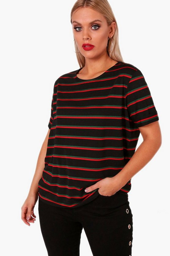 Plus Stripe Roll Up Sleeve T Shirt