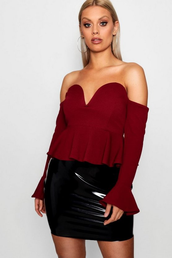 Plus Plunge Frill Crop Top