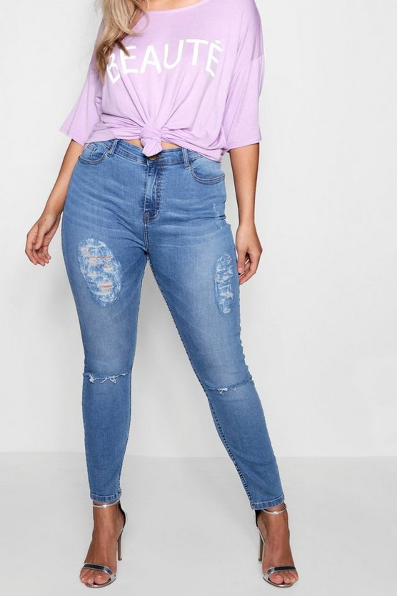 Plus Izzy Distressed Washed Skinny Jean