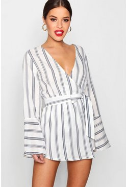 Womens Navy Petite Stripe Woven Wrap Playsuit