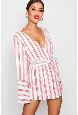 Womens Red Petite Stripe Woven Wrap Romper