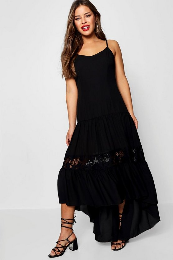 Petite  Lace Panel Drop Waist Maxi Dress