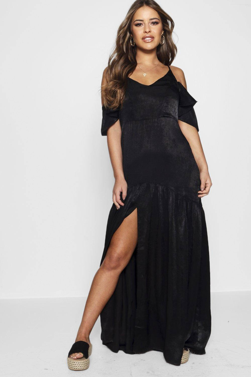 NEW-Boohoo-Womens-Petite-Satin-Cold-Shoulder-Split-Maxi-Dress-in-Polyester