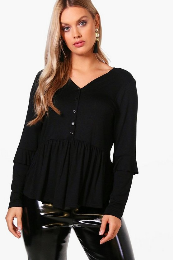 Plus Button Front Ruffle Detail Tops