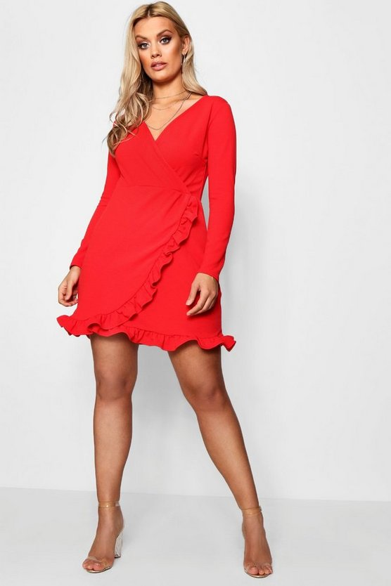 Plus  Long Sleeve Ruffle Wrap Dress