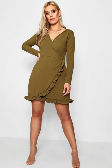 Womens Safari green Plus  Long Sleeve Ruffle Wrap Dress