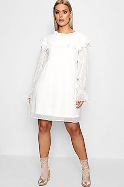 60s Wedding Dress | 1960s Style Wedding Dresses Plus Thea Ruffle Dobby Spot Smock Dress $40.00 AT vintagedancer.com