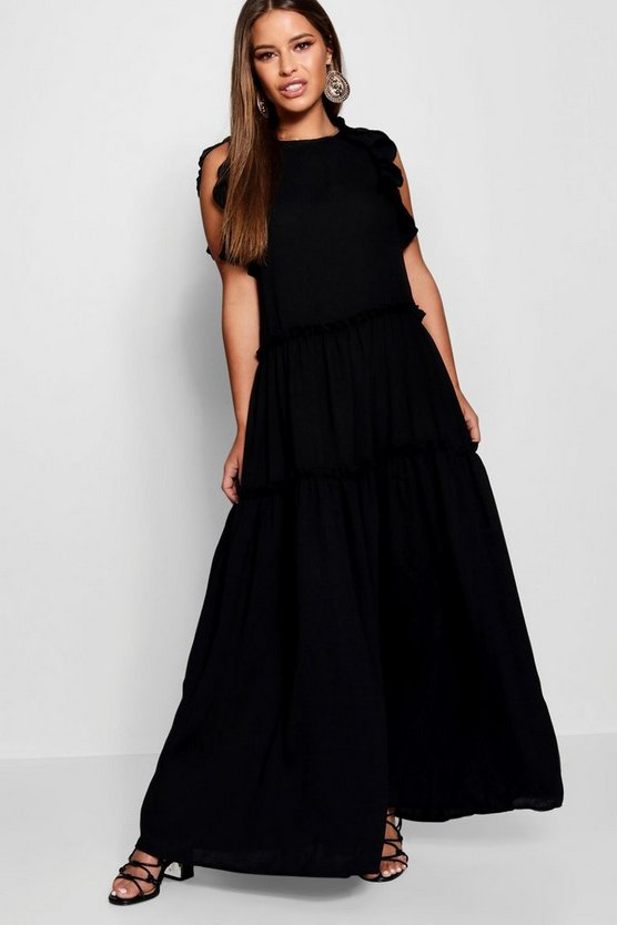Womens Black Petite Tiered Ruffle Shoulder Maxi Dress