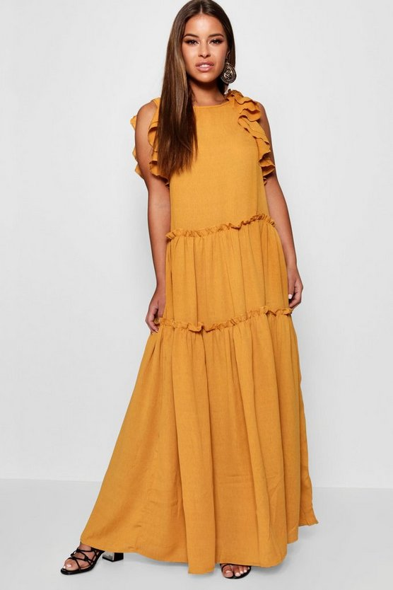 Petite Tiered Ruffle Shoulder Maxi Dress
