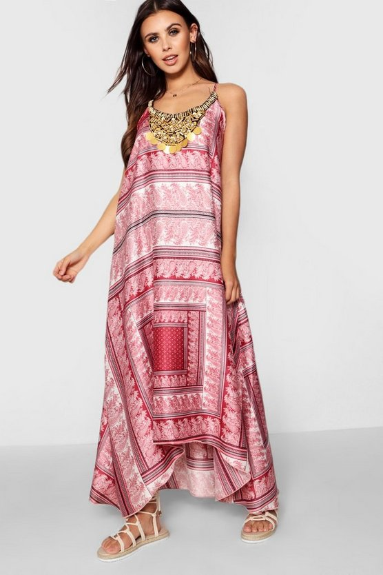 Womens Pink Petite Scarf Print Beaded Hanky Hem Dress