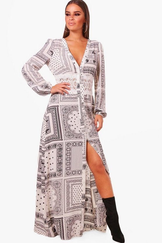 petite-crochet-insert-woven-scarf-print-maxi-dress by boohoo