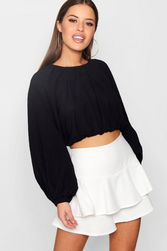 Petite Volume Sleeve Crop Top