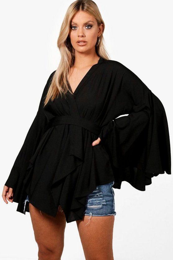 Plus Extreme Sleeve Wrap Front Tie Top