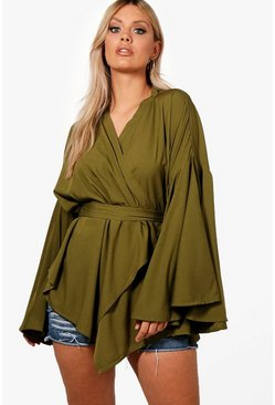 Khaki Plus Extreme Sleeve Wrap Front Tie Top