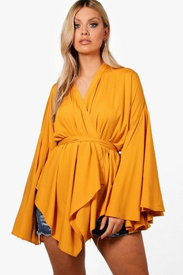Womens Mustard Plus Extreme Sleeve Wrap Front Tie Top