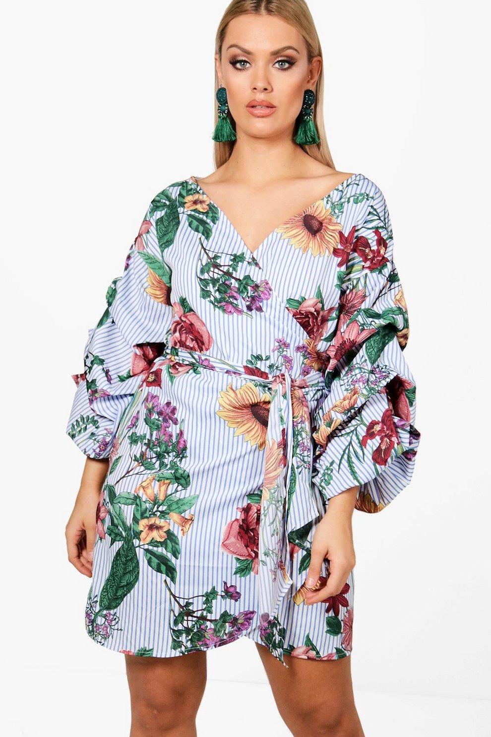 d1861abbc148 Plus Stripe + Floral Wrap Dress | Boohoo