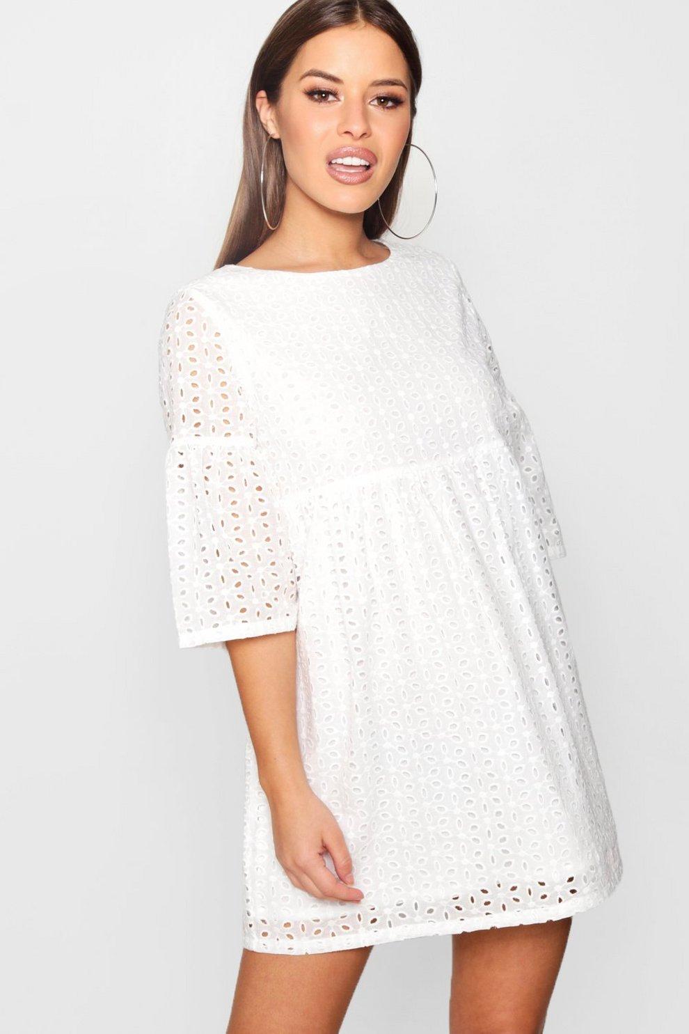 60547dca813a Petite Embroidered Anglaise Smock Dress   Boohoo