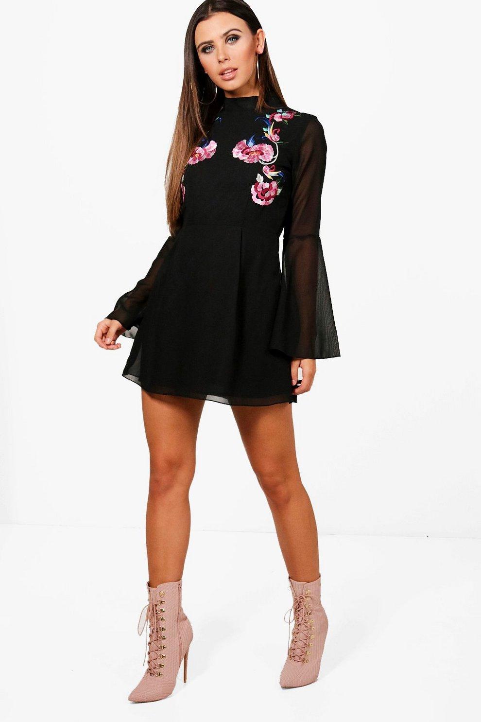 6319de37da1a Petite Embroidered Flare Sleeve Skater Dress | Boohoo