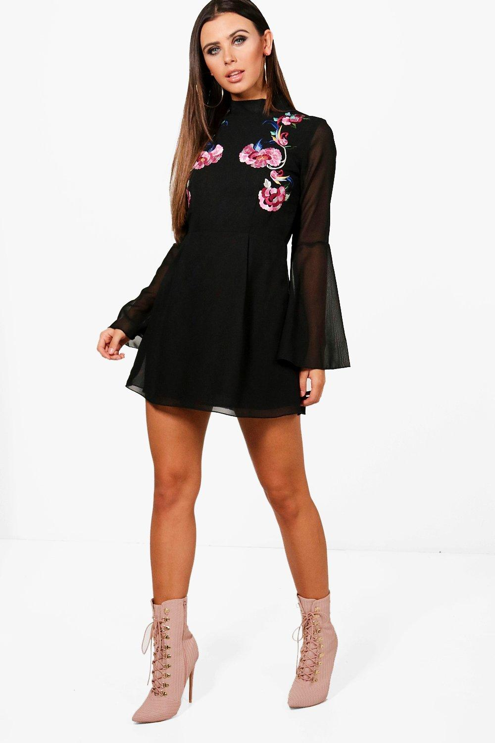 434f02642c7cd Petite Embroidered Flare Sleeve Skater Dress. Hover to zoom
