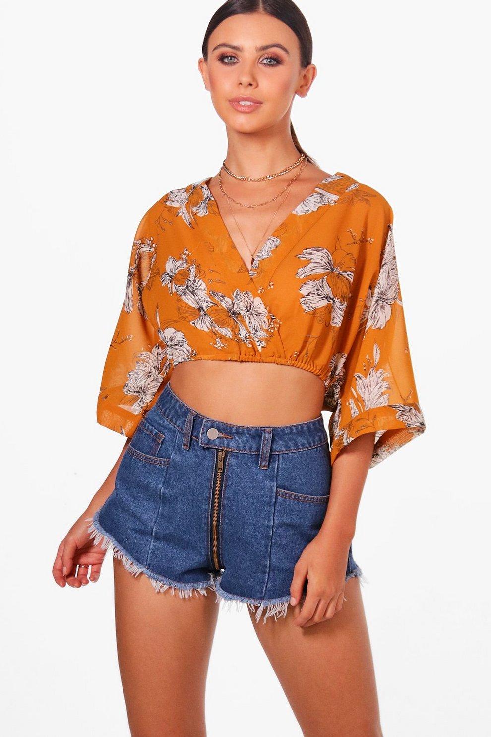 efb4041633ec1 Petite Molly Floral Kimono Crop Top