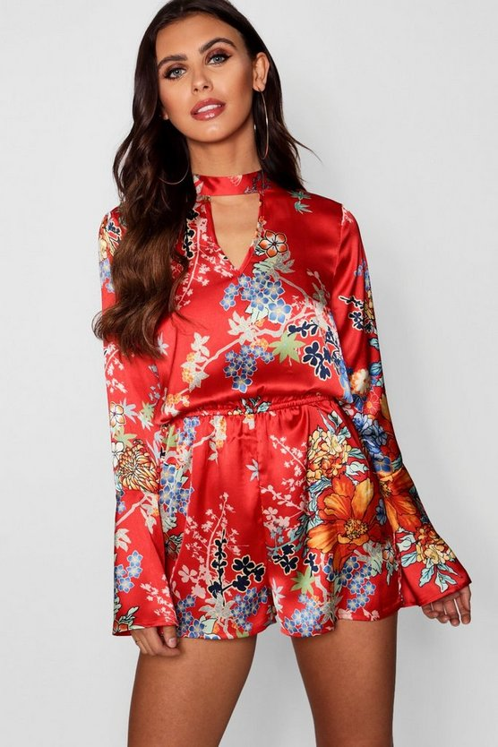 Petite Oriental Long Sleeve Playsuit