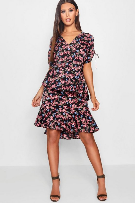 Womens Black Petite Ditsy Printed Ruffle Midi Dress