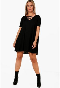 Womens Black Plus  Rib Cross Front Swing Dress