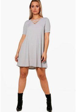 Womens Grey Plus  Rib Cross Front Swing Dress