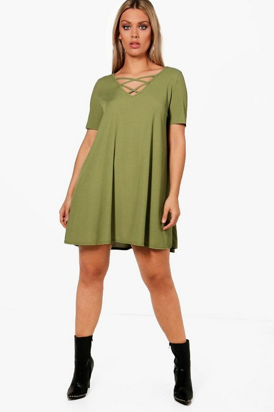 Womens Military green Plus  Rib Cross Front Swing Dress