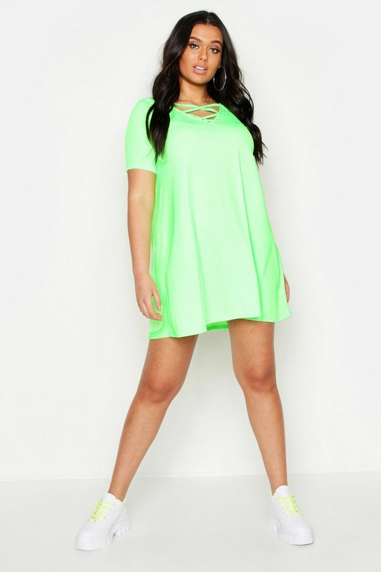 Womens Neon-lime Plus  Rib Cross Front Swing Dress